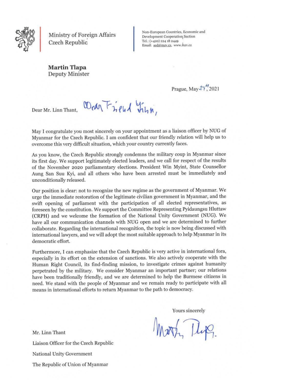 H.E. Mr. Martin Tlapa, Deputy Foreign Minister of the Czech Republic, sent a letter of recognition to U Lin Thant as a Liaison Officer of the NUG to the Czech Republic